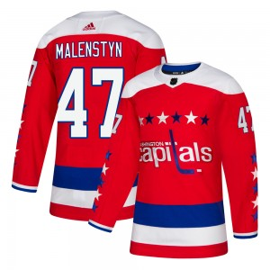 Washington Capitals Beck Malenstyn Official Red Adidas Authentic Adult ized Alternate NHL Hockey Jersey