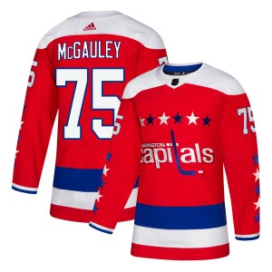 Washington Capitals Tim McGauley Official Red Adidas Authentic Adult Alternate NHL Hockey Jersey