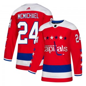 Washington Capitals Connor McMichael Official Red Adidas Authentic Adult ized Alternate NHL Hockey Jersey