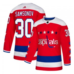 Washington Capitals Ilya Samsonov Official Red Adidas Authentic Adult Alternate NHL Hockey Jersey