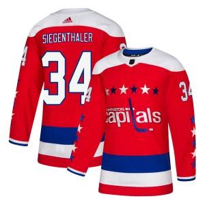 Washington Capitals Jonas Siegenthaler Official Red Adidas Authentic Adult Alternate NHL Hockey Jersey