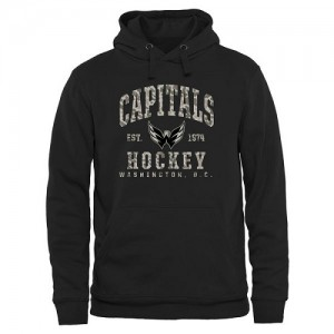 Washington Capitals Official Black Adult Camo Stack Pullover Hoodie