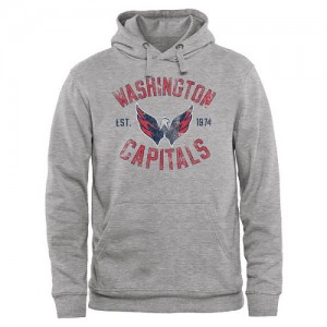 Washington Capitals Official Adult Heritage Pullover Hoodie - Ash