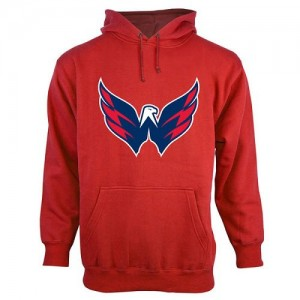 Washington Capitals Official Red Adult Old Time Hockey Big Logo with Crest Pullover Hoodie -