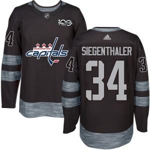 Washington Capitals Jonas Siegenthaler Official Black Adidas Authentic Adult 1917-2017 100th Anniversary NHL Hockey Jersey