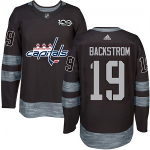 Washington Capitals Nicklas Backstrom Official Black Adidas Authentic Adult 1917-2017 100th Anniversary NHL Hockey Jersey