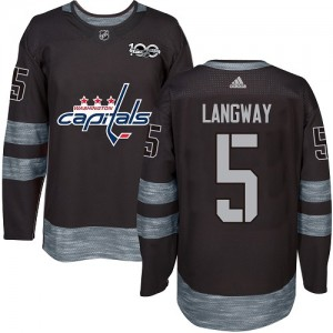 Washington Capitals Rod Langway Official Black Adidas Authentic Adult 1917-2017 100th Anniversary NHL Hockey Jersey