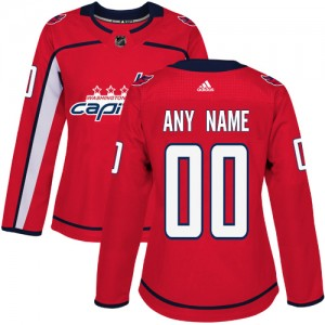 Washington Capitals Custom Official Red Adidas Authentic Women's Home NHL Hockey Jersey