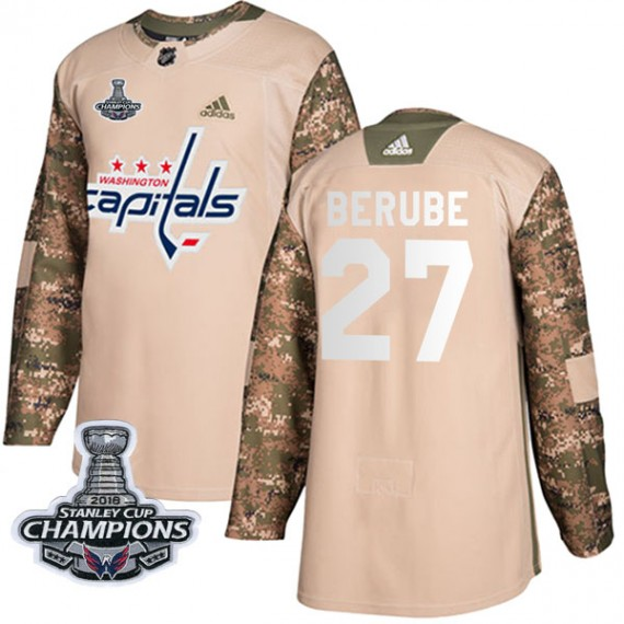 Washington Capitals Craig Berube Official Camo Adidas Authentic Youth Veterans Day Practice 2018 Stanley Cup Champions Patch NHL