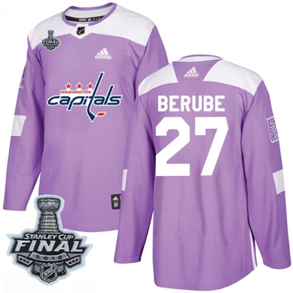 Washington Capitals Craig Berube Official Purple Adidas Authentic Youth Fights Cancer Practice 2018 Stanley Cup Final Patch NHL