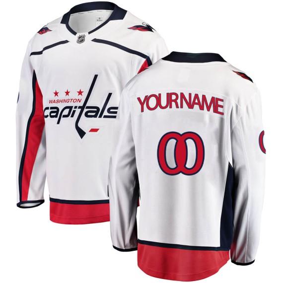 Washington Capitals Custom Official White Fanatics Branded Breakaway Youth Away NHL Hockey Jersey