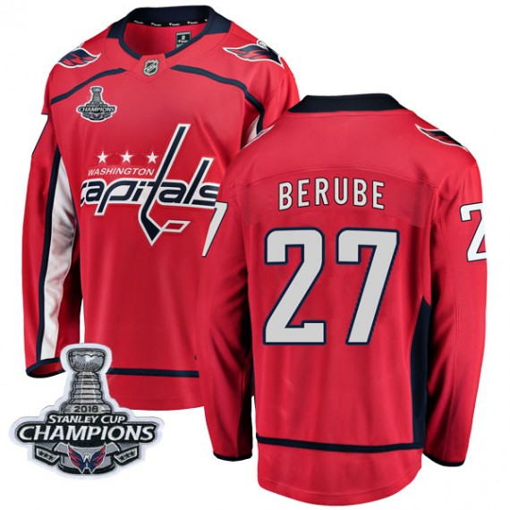 Washington Capitals Craig Berube Official Red Fanatics Branded Breakaway Youth Home 2018 Stanley Cup Champions Patch NHL Hockey