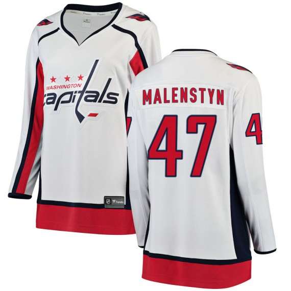 Washington Capitals Beck Malenstyn Official White Fanatics Branded Breakaway Women's ized Away NHL Hockey Jersey