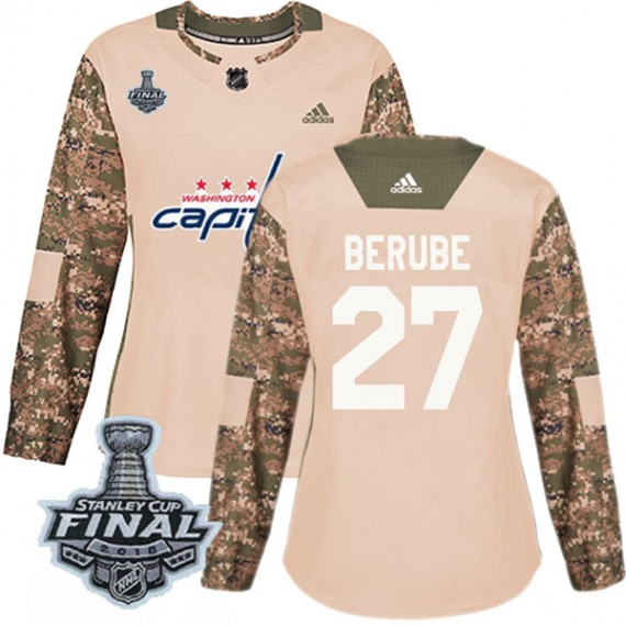 Washington Capitals Craig Berube Official Camo Adidas Authentic Women's Veterans Day Practice 2018 Stanley Cup Final Patch NHL H