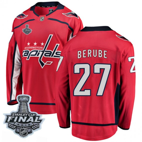 Washington Capitals Craig Berube Official Red Fanatics Branded Breakaway Youth Home 2018 Stanley Cup Final Patch NHL Hockey Jers