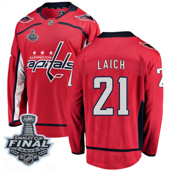 Washington Capitals Brooks Laich Official Red Fanatics Branded Breakaway Youth Home 2018 Stanley Cup Final Patch NHL Hockey Jers