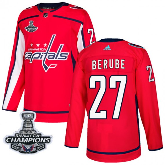 Washington Capitals Craig Berube Official Red Adidas Authentic Adult Home 2018 Stanley Cup Champions Patch NHL Hockey Jersey