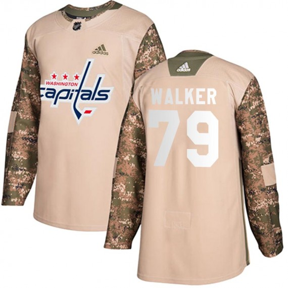Washington Capitals Nathan Walker Official Camo Adidas Authentic Youth Veterans Day Practice NHL Hockey Jersey