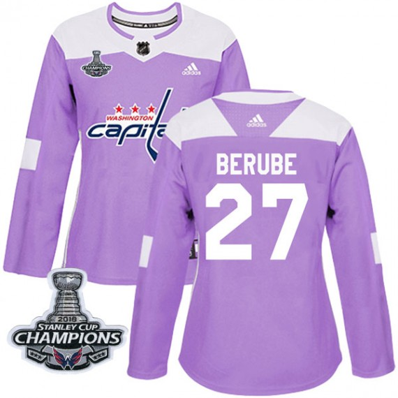Washington Capitals Craig Berube Official Purple Adidas Authentic Women's Fights Cancer Practice 2018 Stanley Cup Champions Patc