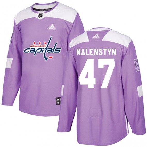 Washington Capitals Beck Malenstyn Official Purple Adidas Authentic Adult ized Fights Cancer Practice NHL Hockey Jersey