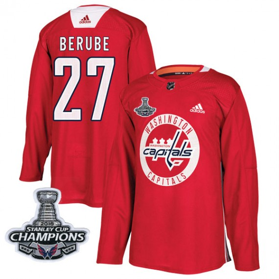 Washington Capitals Craig Berube Official Red Adidas Authentic Adult Practice 2018 Stanley Cup Champions Patch NHL Hockey Jersey