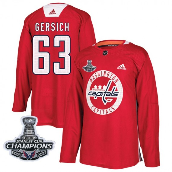 Washington Capitals Shane Gersich Official Red Adidas Authentic Adult Practice 2018 Stanley Cup Champions Patch NHL Hockey Jerse
