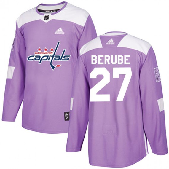 Washington Capitals Craig Berube Official Purple Adidas Authentic Youth Fights Cancer Practice NHL Hockey Jersey