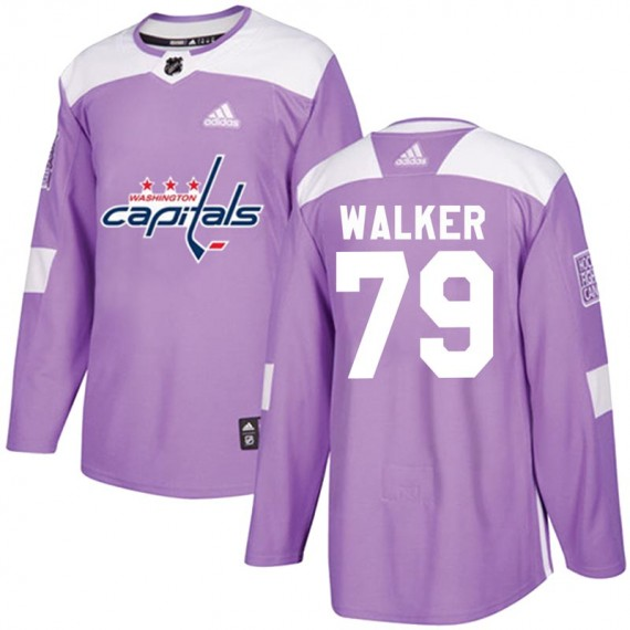 Washington Capitals Nathan Walker Official Purple Adidas Authentic Youth Fights Cancer Practice NHL Hockey Jersey