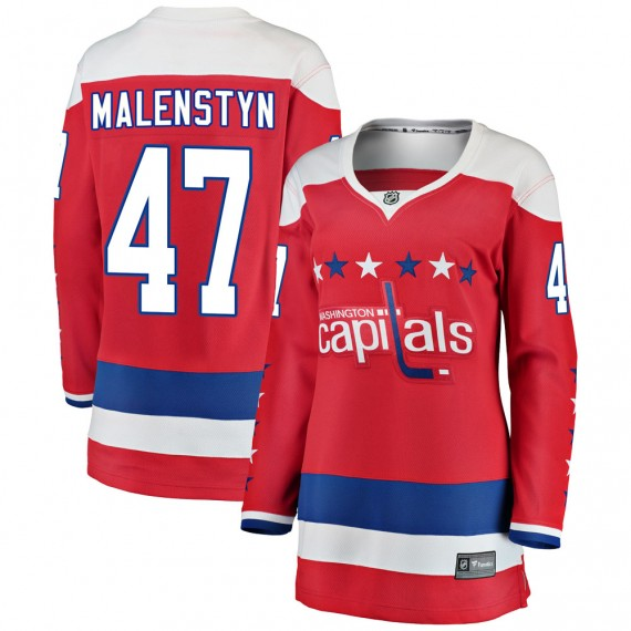 Washington Capitals Beck Malenstyn Official Red Fanatics Branded Breakaway Women's ized Alternate NHL Hockey Jersey