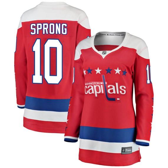 Washington Capitals Daniel Sprong Official Red Fanatics Branded Breakaway Women's ized Alternate NHL Hockey Jersey