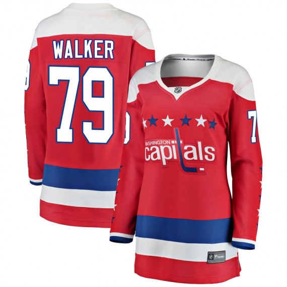 Washington Capitals Nathan Walker Official Red Fanatics Branded Breakaway Women's Alternate NHL Hockey Jersey