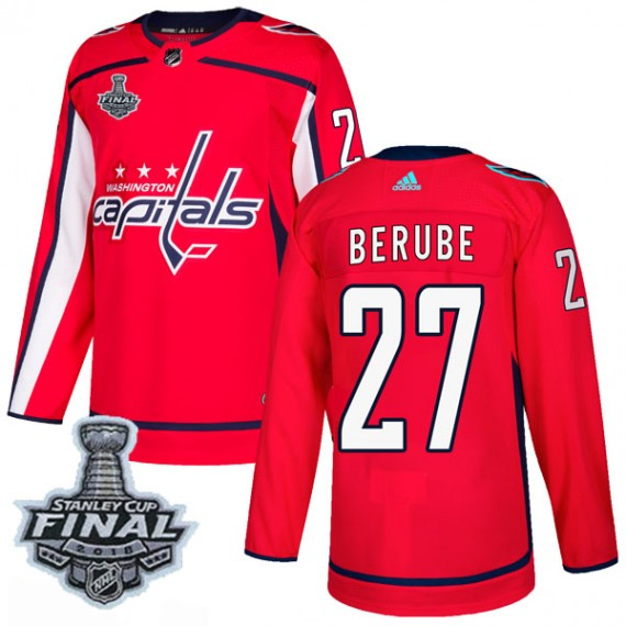 Washington Capitals Craig Berube Official Red Adidas Authentic Adult Home 2018 Stanley Cup Final Patch NHL Hockey Jersey