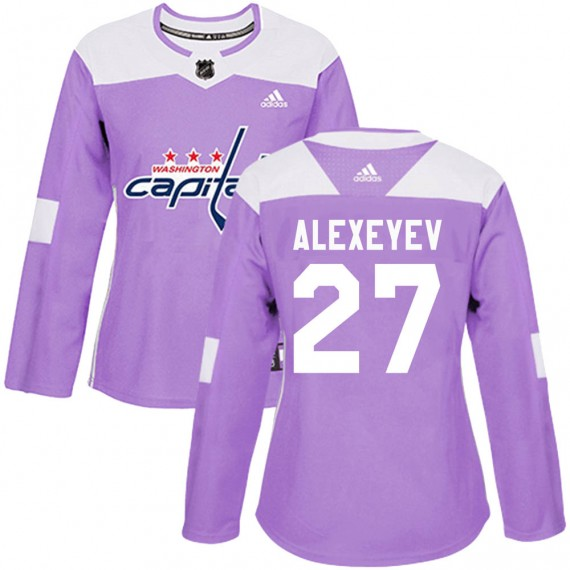 Washington Capitals Alexander Alexeyev Official Purple Adidas Authentic Women's ized Fights Cancer Practice NHL Hockey Jersey