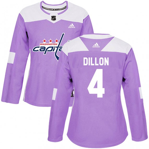 Washington Capitals Brenden Dillon Official Purple Adidas Authentic Women's ized Fights Cancer Practice NHL Hockey Jersey