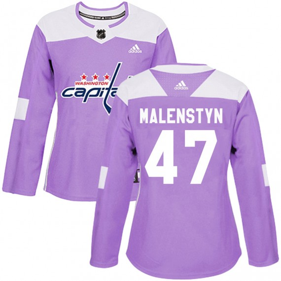 Washington Capitals Beck Malenstyn Official Purple Adidas Authentic Women's ized Fights Cancer Practice NHL Hockey Jersey
