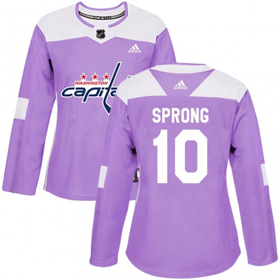 Washington Capitals Daniel Sprong Official Purple Adidas Authentic Women's ized Fights Cancer Practice NHL Hockey Jersey