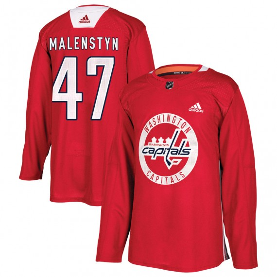 Washington Capitals Beck Malenstyn Official Red Adidas Authentic Adult ized Practice NHL Hockey Jersey