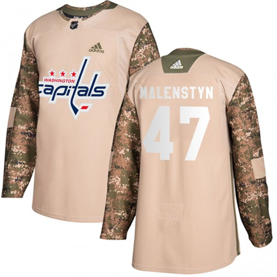 Washington Capitals Beck Malenstyn Official Camo Adidas Authentic Adult ized Veterans Day Practice NHL Hockey Jersey