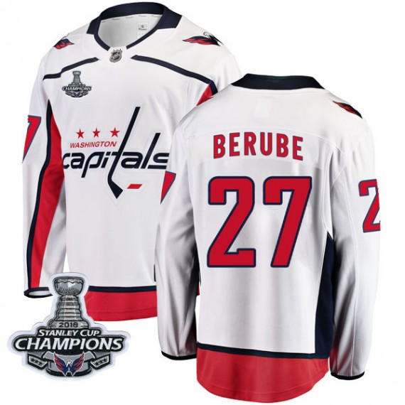 Washington Capitals Craig Berube Official White Fanatics Branded Breakaway Youth Away 2018 Stanley Cup Champions Patch NHL Hocke