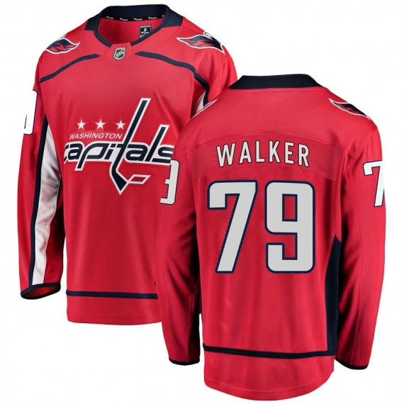 Washington Capitals Nathan Walker Official Red Fanatics Branded Breakaway Youth Home NHL Hockey Jersey