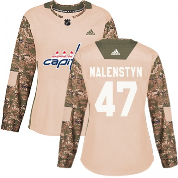 Washington Capitals Beck Malenstyn Official Camo Adidas Authentic Women's ized Veterans Day Practice NHL Hockey Jersey