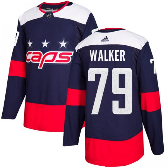 Washington Capitals Nathan Walker Official Navy Blue Adidas Authentic Adult 2018 Stadium Series NHL Hockey Jersey