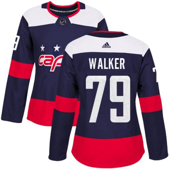 Washington Capitals Nathan Walker Official Navy Blue Adidas Authentic Women's 2018 Stadium Series NHL Hockey Jersey